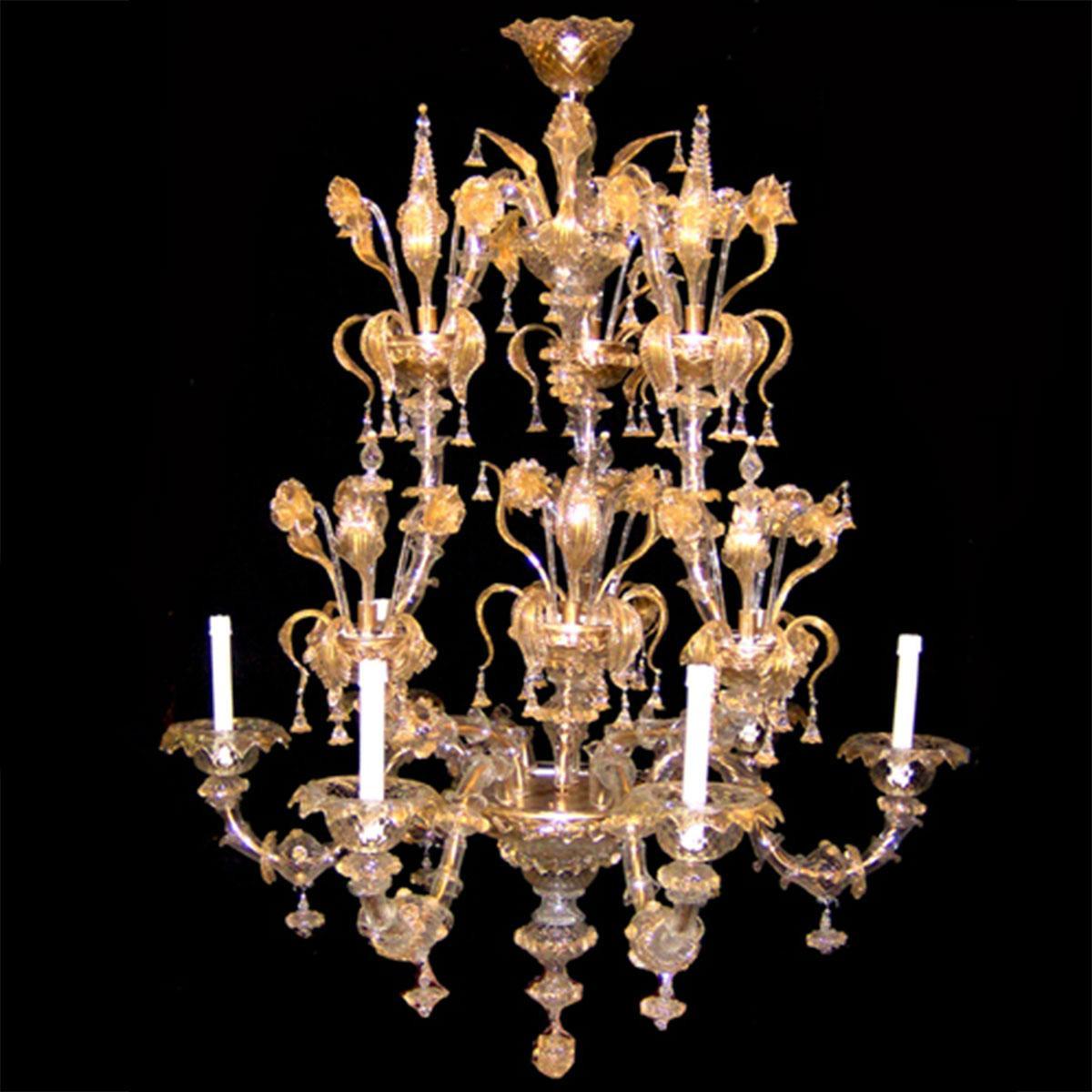 """""""Arianna"""" lustre en cristal de Murano - 6 lumières - or"""