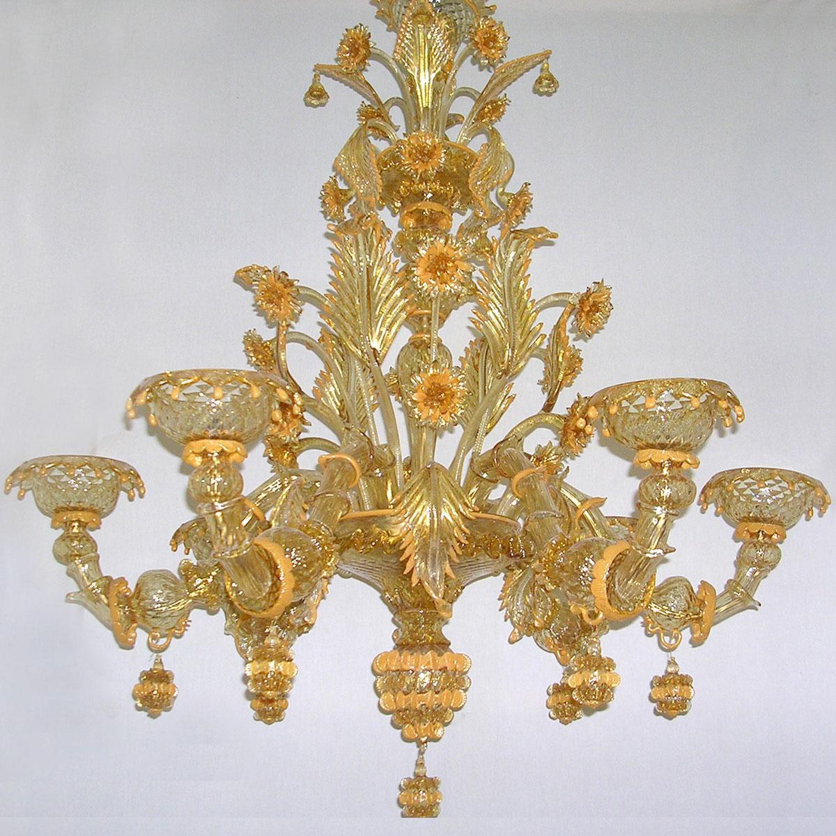 """Midna"" Murano glas Kronleuchter - 6 flammig - gold"
