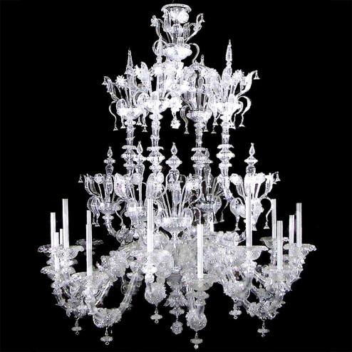 """""""Alida"""" lustre en cristal de Murano - 16 lumières - transparent"""
