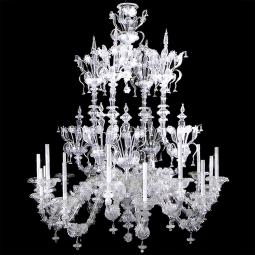 """Alida"" Murano glass chandelier - 16 lights - transparent"