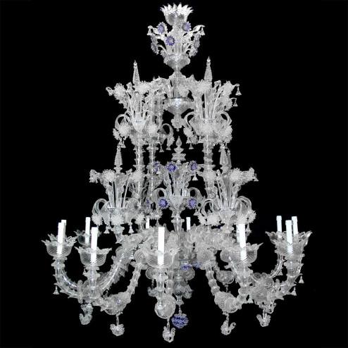 """""""Apollinare"""" lustre en cristal de Murano - 12 lumières - transparent"""