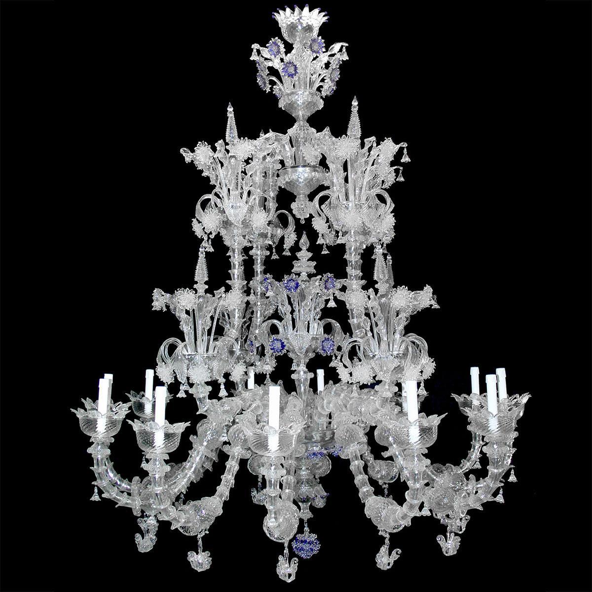 """""""Apollinare"""" lampara de araña de Murano - 12 luces - transparente"""
