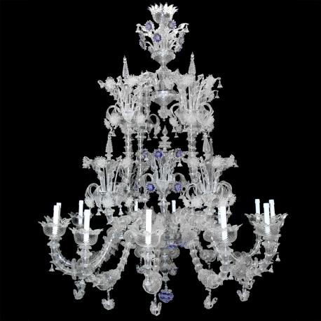 """Apollinare"" Murano glass chandelier - 12 lights - transparent"