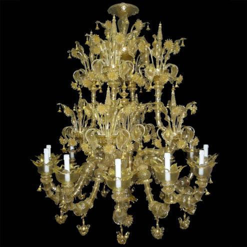 """Adelchi"" Murano glas Kronleuchter - 12 flammig - gold"