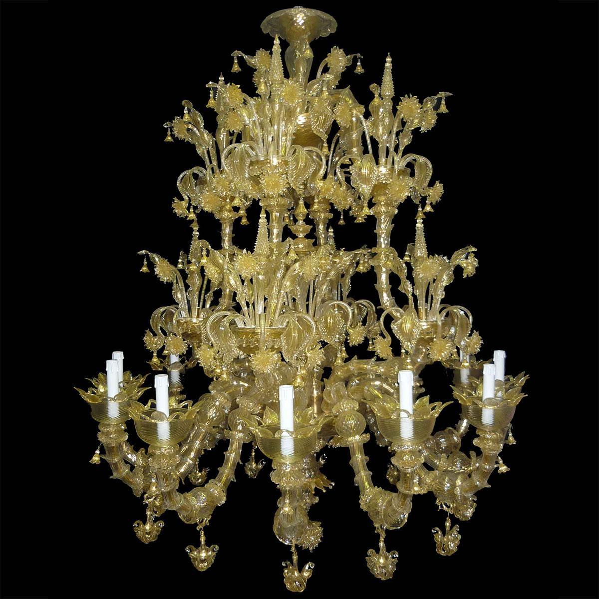 """Adelchi"" lustre en cristal de Murano - 12 lumières - or"