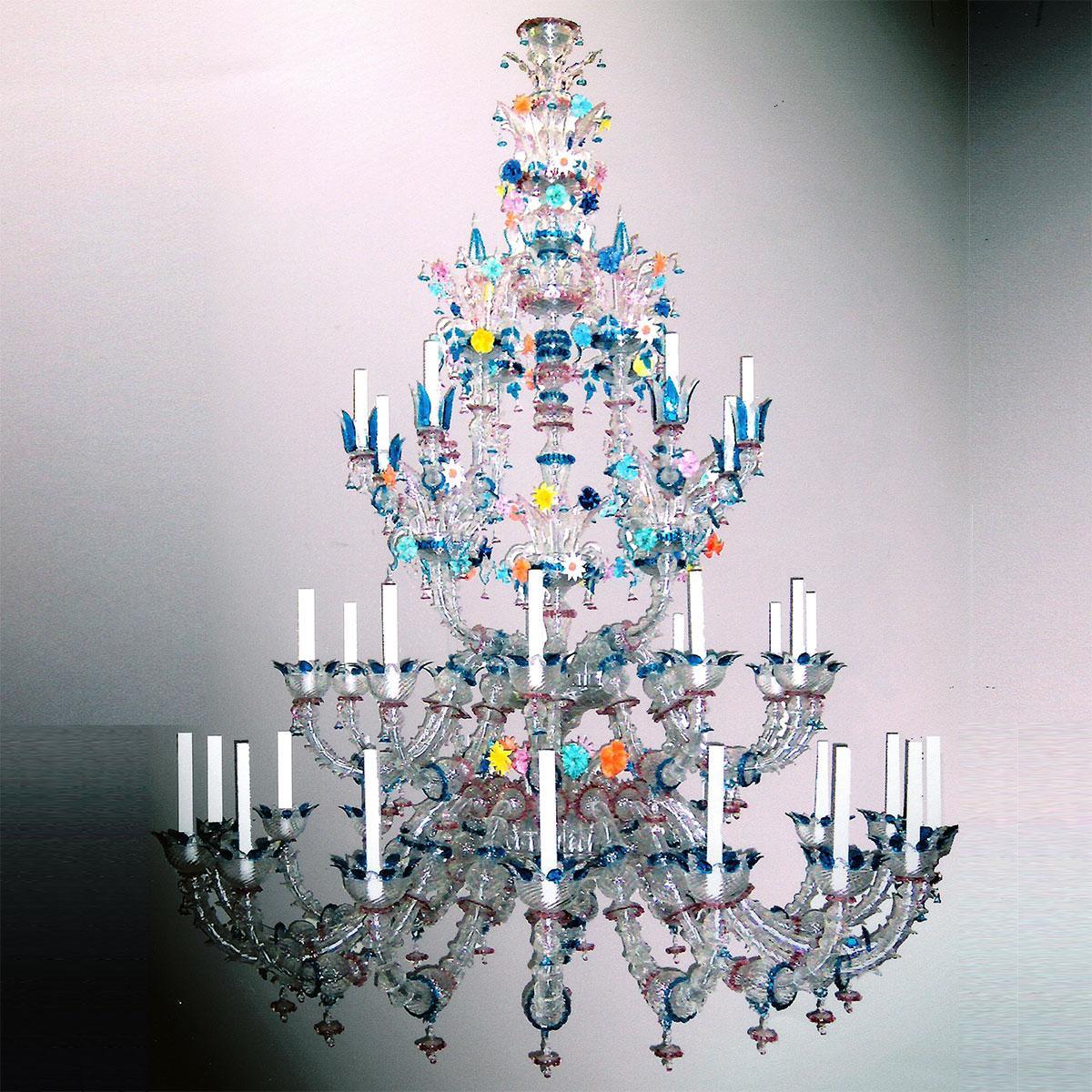 """Arcobaleno"" Murano glass chandelier - 36 lights - multicolor"