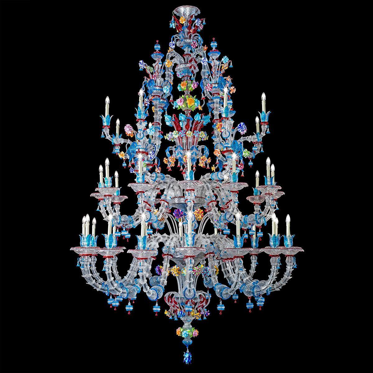"""Abbondanza"" lustre en cristal de Murano - 36 lumières - multicolor"