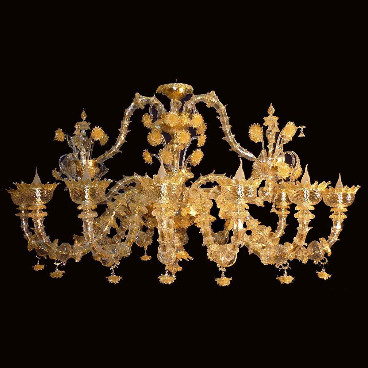 """Adriana"" lustre en cristal de Murano - 12 lumières - or"