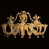 """Adriana"" Murano glass chandelier - 12 lights - gold"