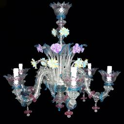 """Berenice"" Murano glass chandelier - 6 lights"
