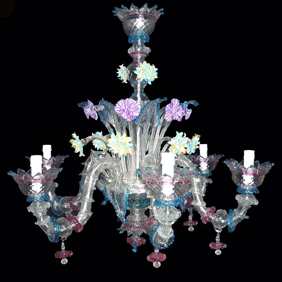 """Berenice"" lustre en cristal de Murano - 6 lumières"