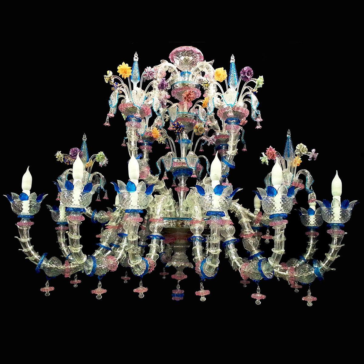 """Mariagrazia"" lustre en cristal de Murano - 12 lumières"