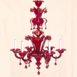 """Benedetta"" Murano glass chandelier - 6 lights - red"