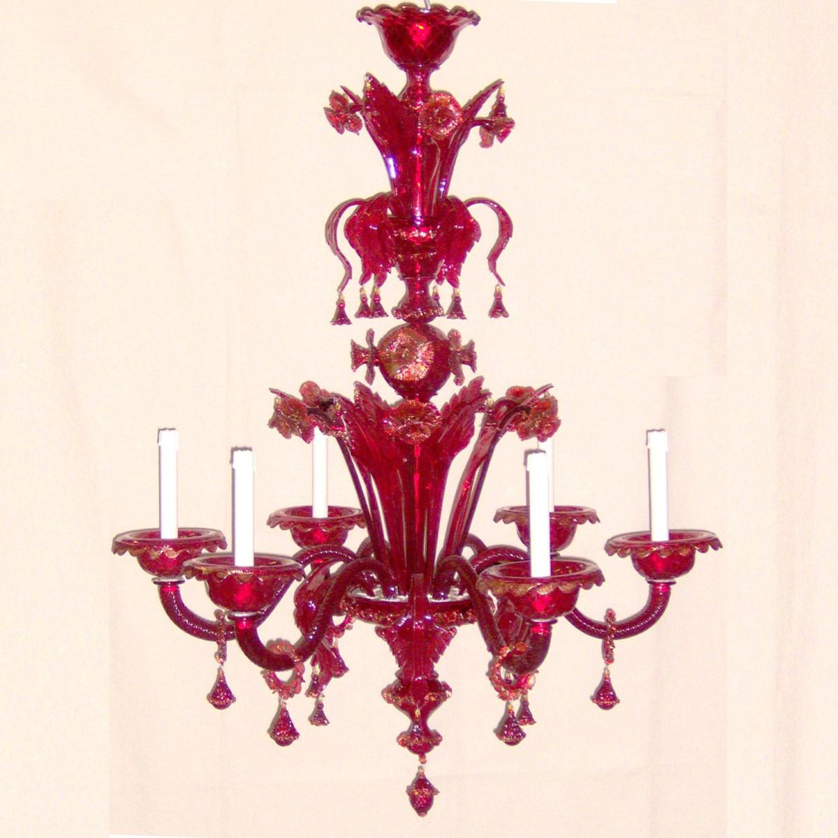 """""""Benedetta"""" lustre en cristal de Murano - 6 lumières - rouge"""