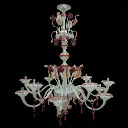 """Emma"" Murano glass chandelier - 12 lights - transparent and red"