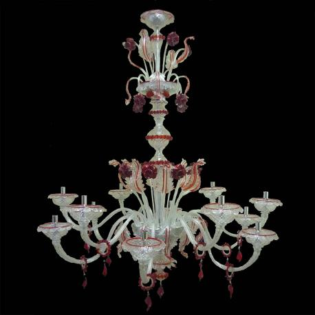 """""""Emma"""" Murano glass chandelier - 12 lights - transparent and red"""