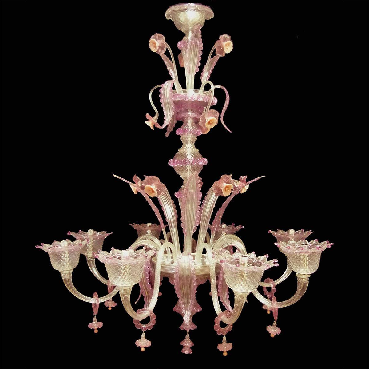 """""""Lazuriel"""" lustre en cristal de Murano - 8 lumières - transparent et rose"""