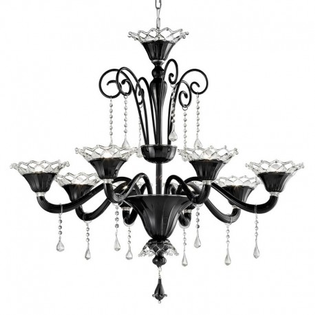 Solenne 8 lights Murano chandelier black transparent color