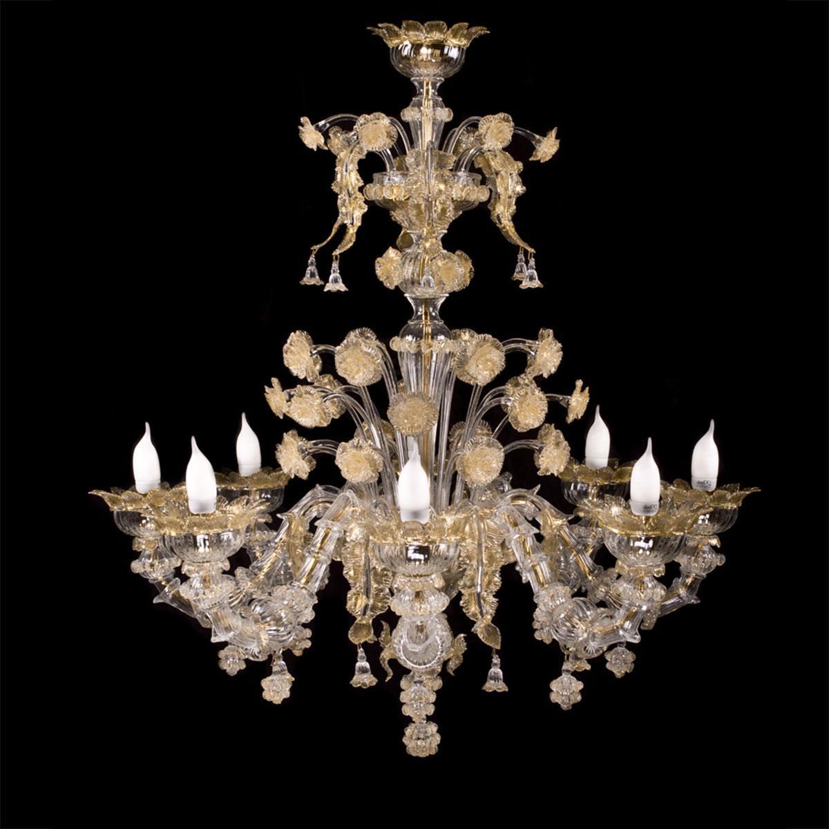 """Maria"" lustre en cristal de Murano - 8 lumières"