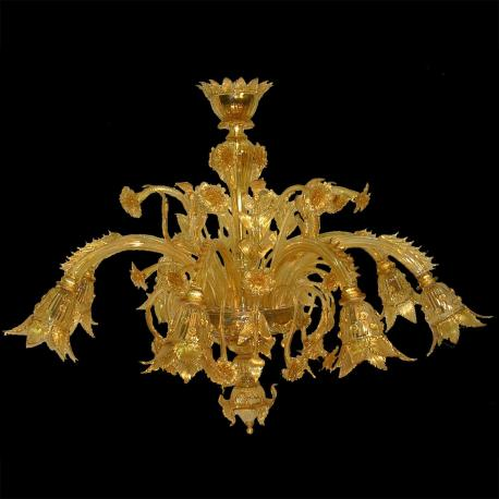 """Dorotea"" Murano glass chandelier - 8 lights - gold"