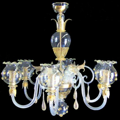"""Gloria"" Murano glass chandelier - 6 lights"