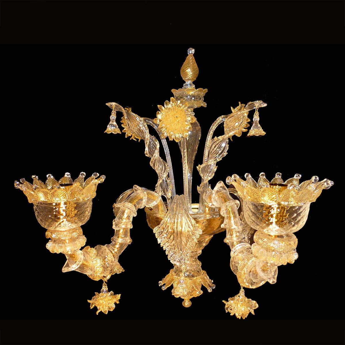 """""""Adriana"""" applique en verre de Murano - 2 lumières - or"""