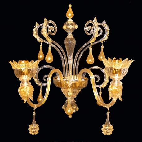 """San Giorgio"" Murano glass sconce - 2 lights - gold"
