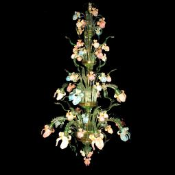 """Iris Verde"" large Murano glass chandelier - 12 lights"