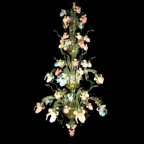 """Iris Verde"" large Murano glass chandelier"