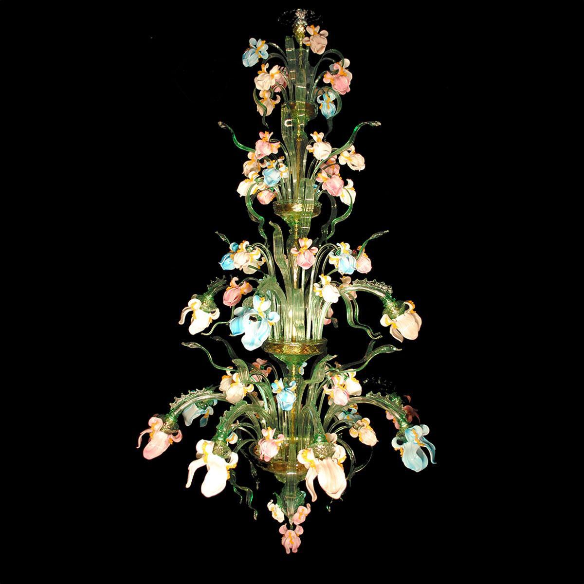 """""""Iris Verde"""" große Murano Kronleuchter - 12 flammig"""