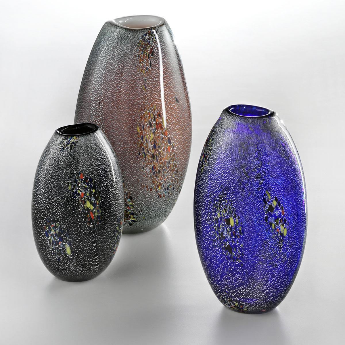 """""""Paffuto"""" vase en verre de Murano - couleur, argent et polychrome"""