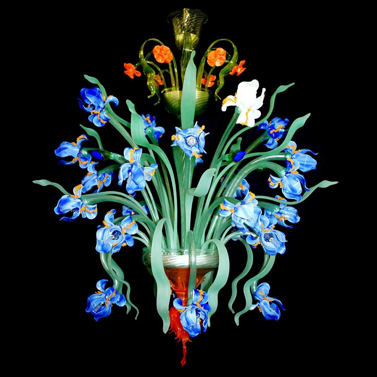 """""""Iris blu"""" Lustre en verre Murano 24 lumieres"""