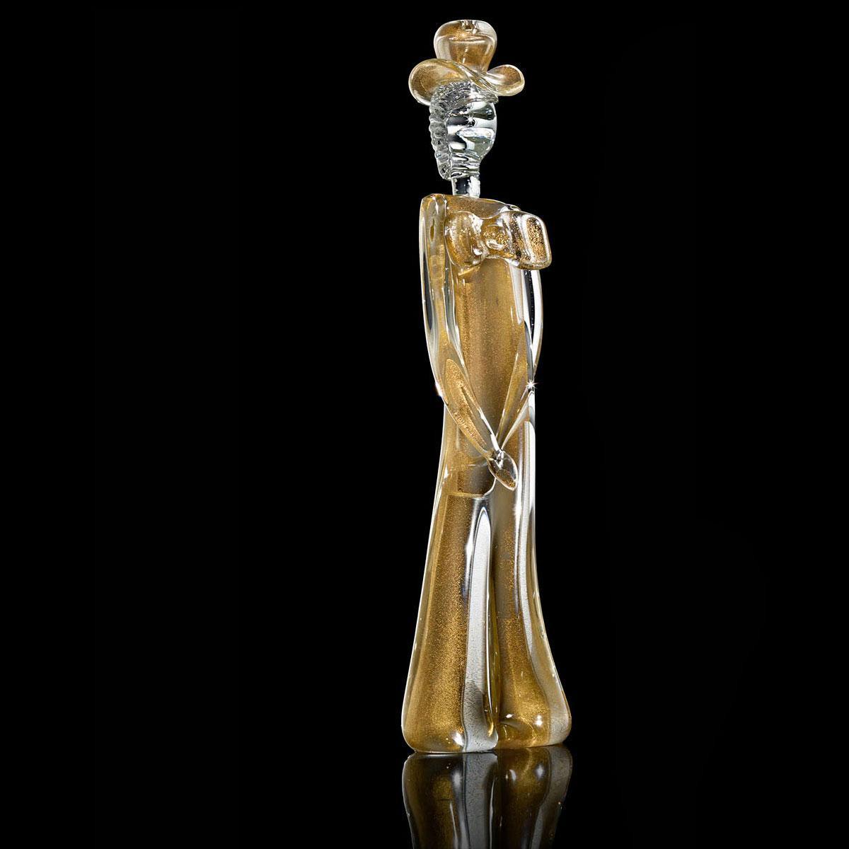 """Cavaliere"" escultura en cristal de Murano - oro"