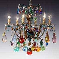 """Frutteto"" Murano glass chandelier - 6 lights -"