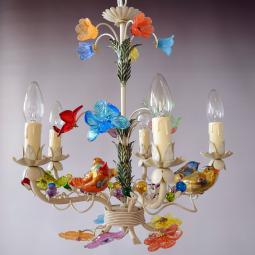 """Uccellini"" Murano glass chandelier - 5 lights"