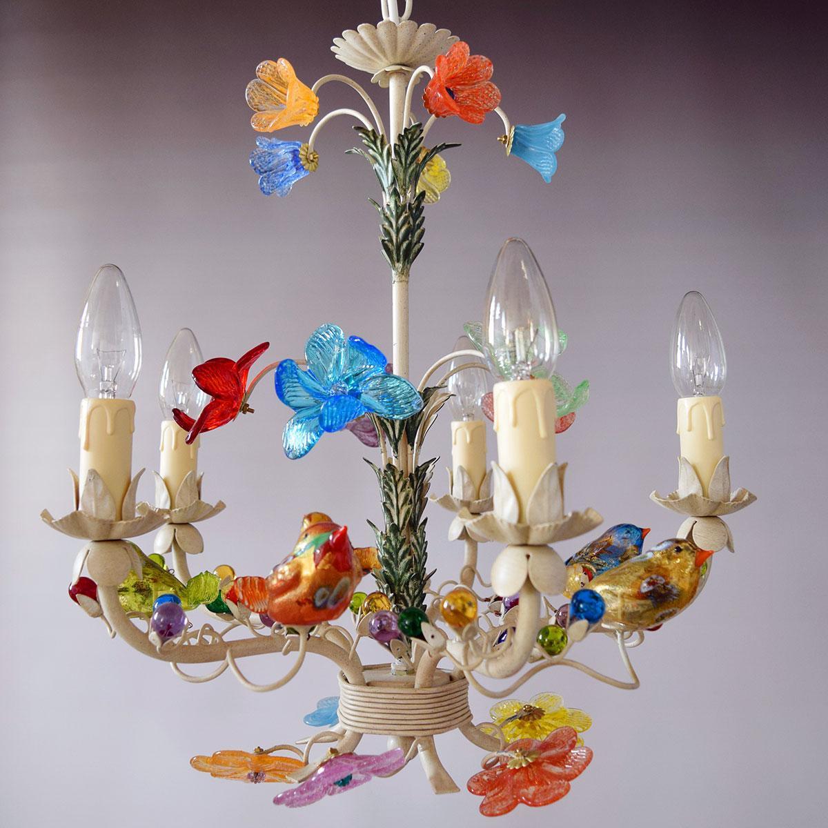 """""""Uccellini"""" lustre en cristal de Murano - 5 lumières"""