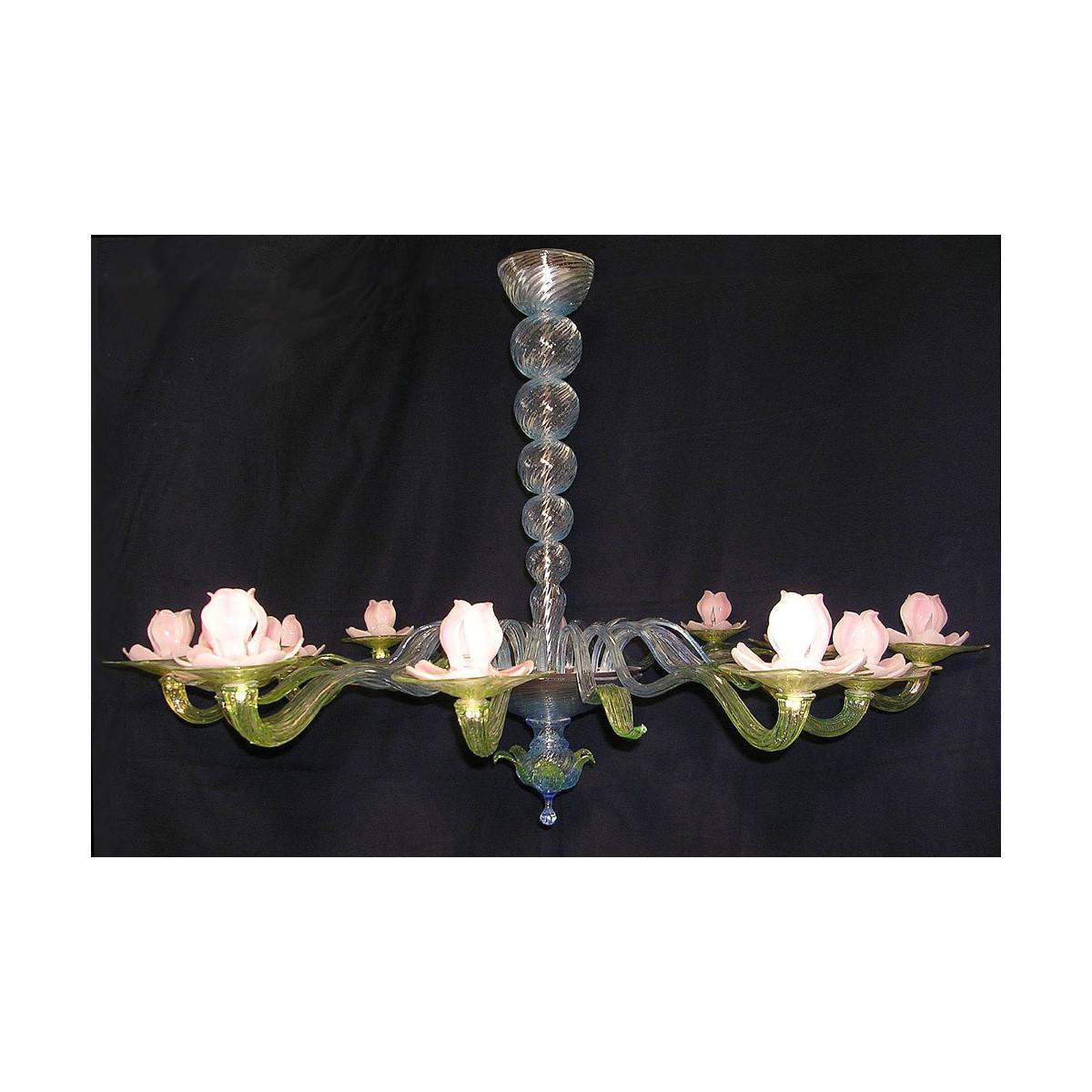 Ninfea araña de cristal de Murano 12 luces