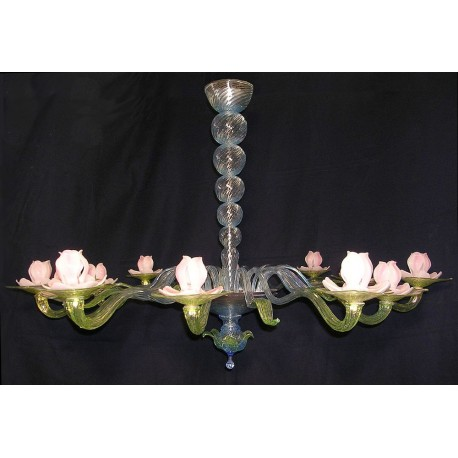 Ninfea (waterlily) 12 lights Murano glass chandelier