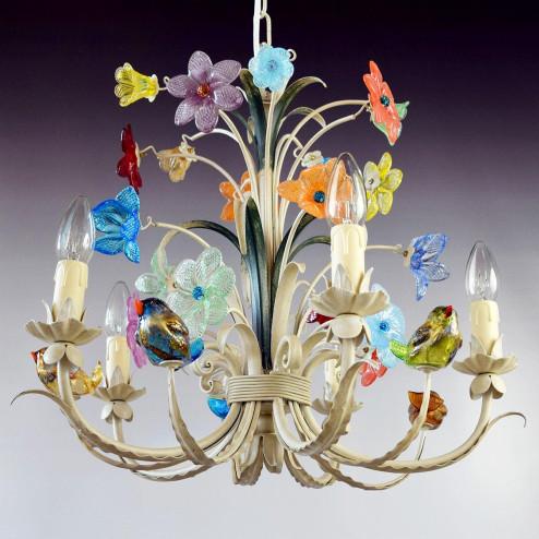 """""""Crema"""" lampara de araña de Murano"""