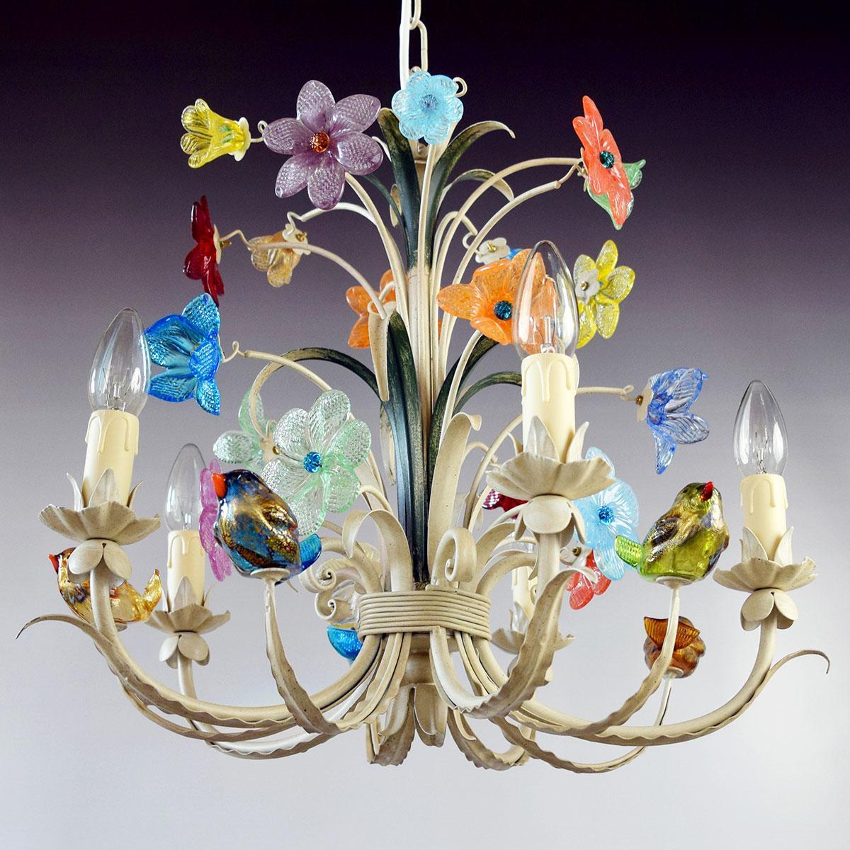 """""""Crema"""" lampara de araña de Murano - 5 luces"""