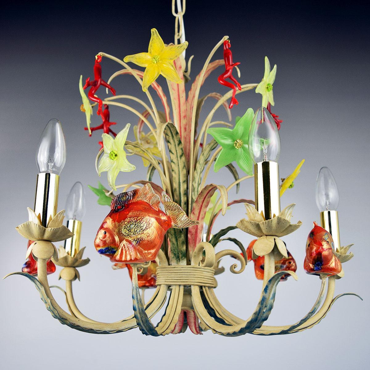 """Corallo"" lustre en cristal de Murano - 5 lumières"