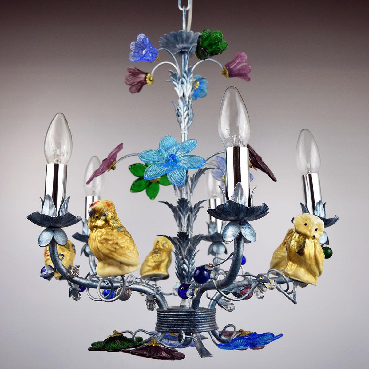 """""""Civetta"""" lustre en cristal de Murano - 5 lumières"""