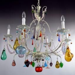"""Mela Bianca"" Murano glass chandelier - 6 lights"