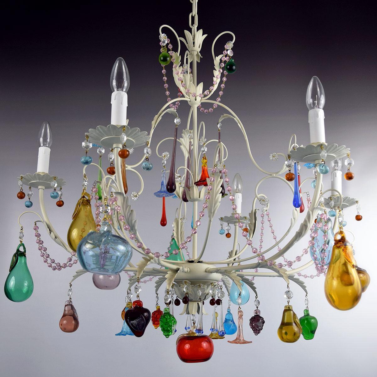 """Mela Bianca"" lustre en cristal de Murano - 6 lumières"