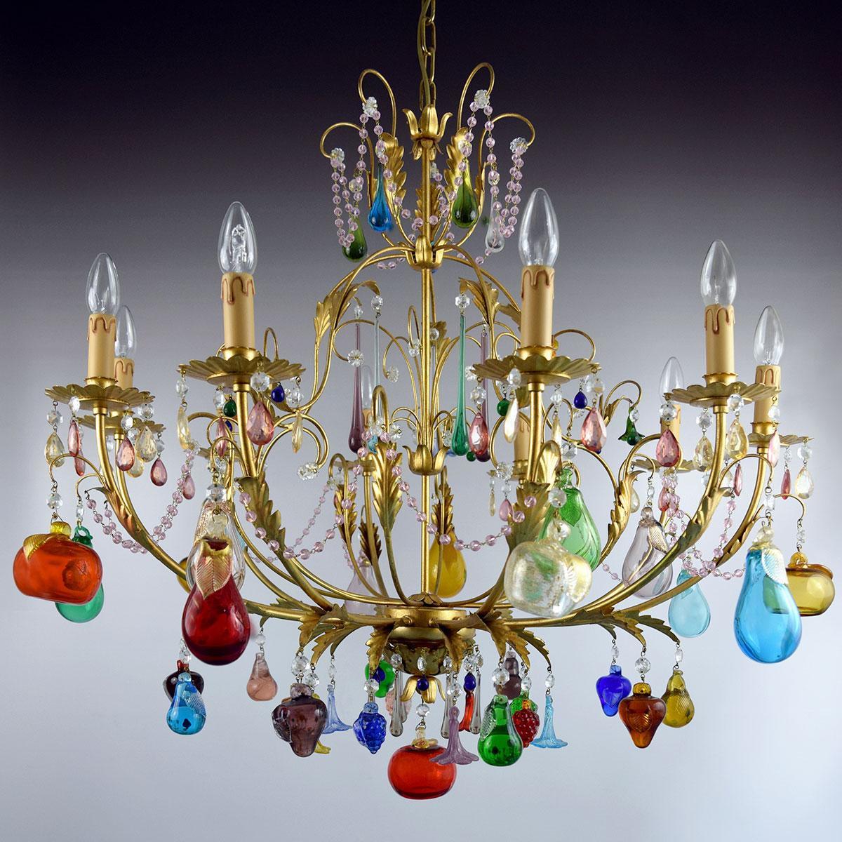 """""""Mela D'Oro"""" lampara de araña de Murano - 8 luces"""