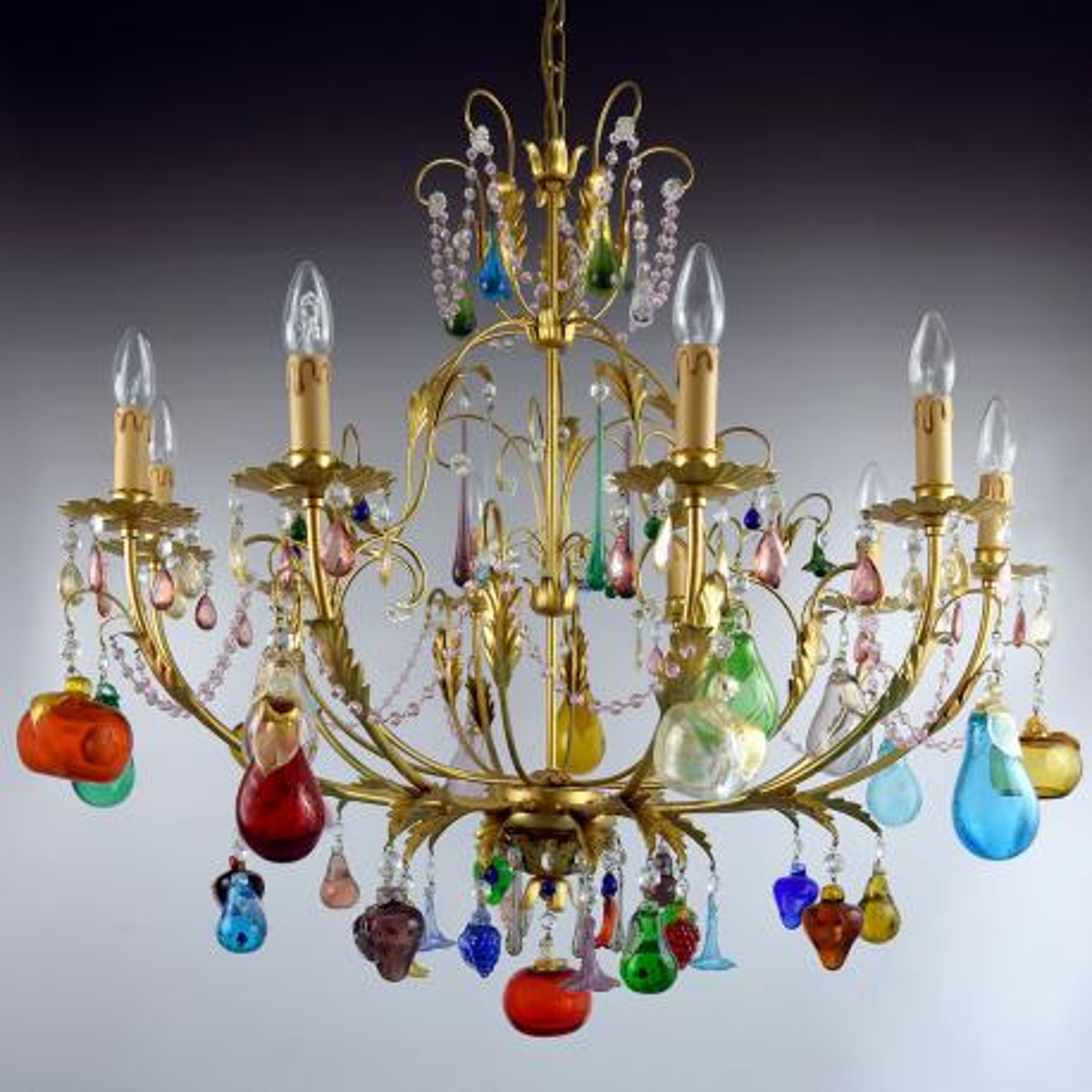 """Mela D'Oro"" lustre en cristal de Murano - 8 lumières"