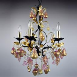 """Grappoli"" Murano glass chandelier - 5 lights - gold"