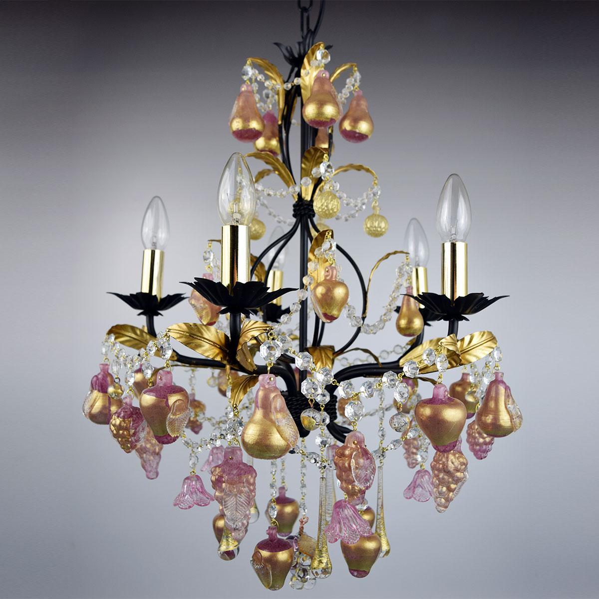 """Grappoli"" lustre en cristal de Murano  - 5 lumières - or"