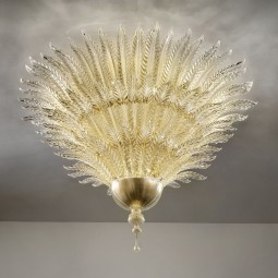 Fantastico series | 18 lights Murano ceiling lamp - gold color