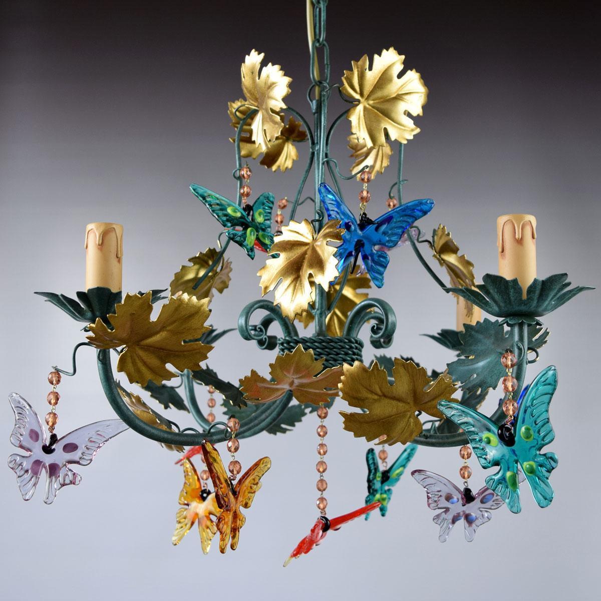 """""""Farfalle"""" lampara de araña de Murano - 4 luces"""
